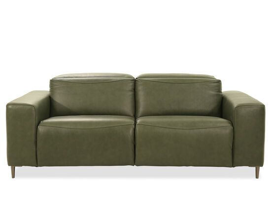 Power Reclining Leather Sofa in Green
