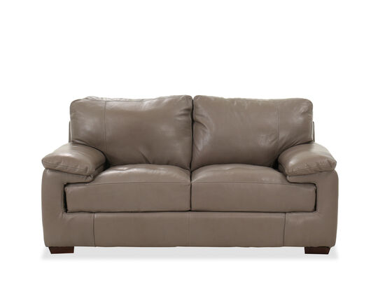 Casual Leather Loveseat in Pebble Gray