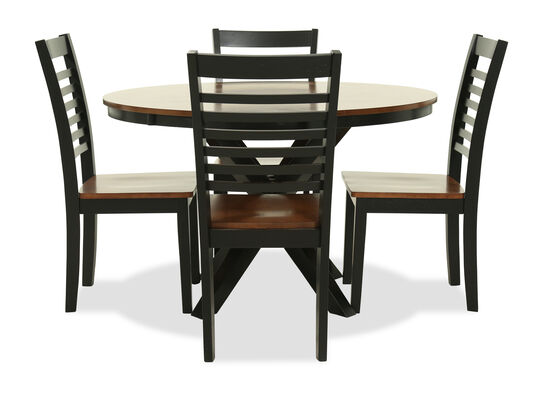 "48"" Round Five-Piece Dining Set in Ebony & Oak"