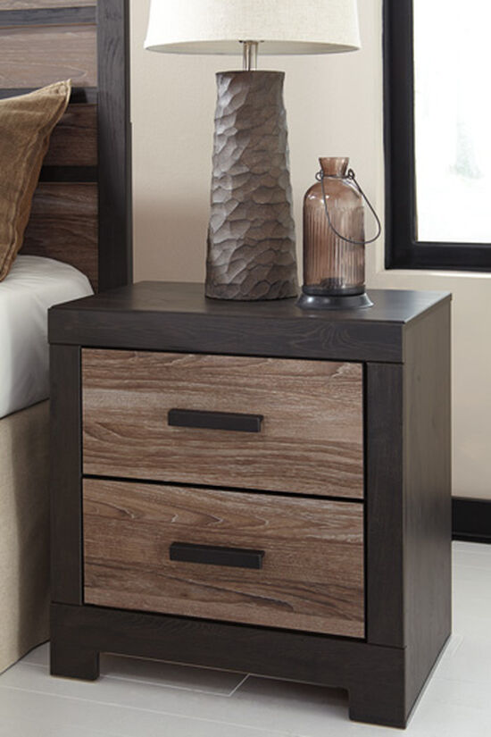 "24.5"" Contemporary Weathered Two-Drawer Nightstand in Warm Gray"
