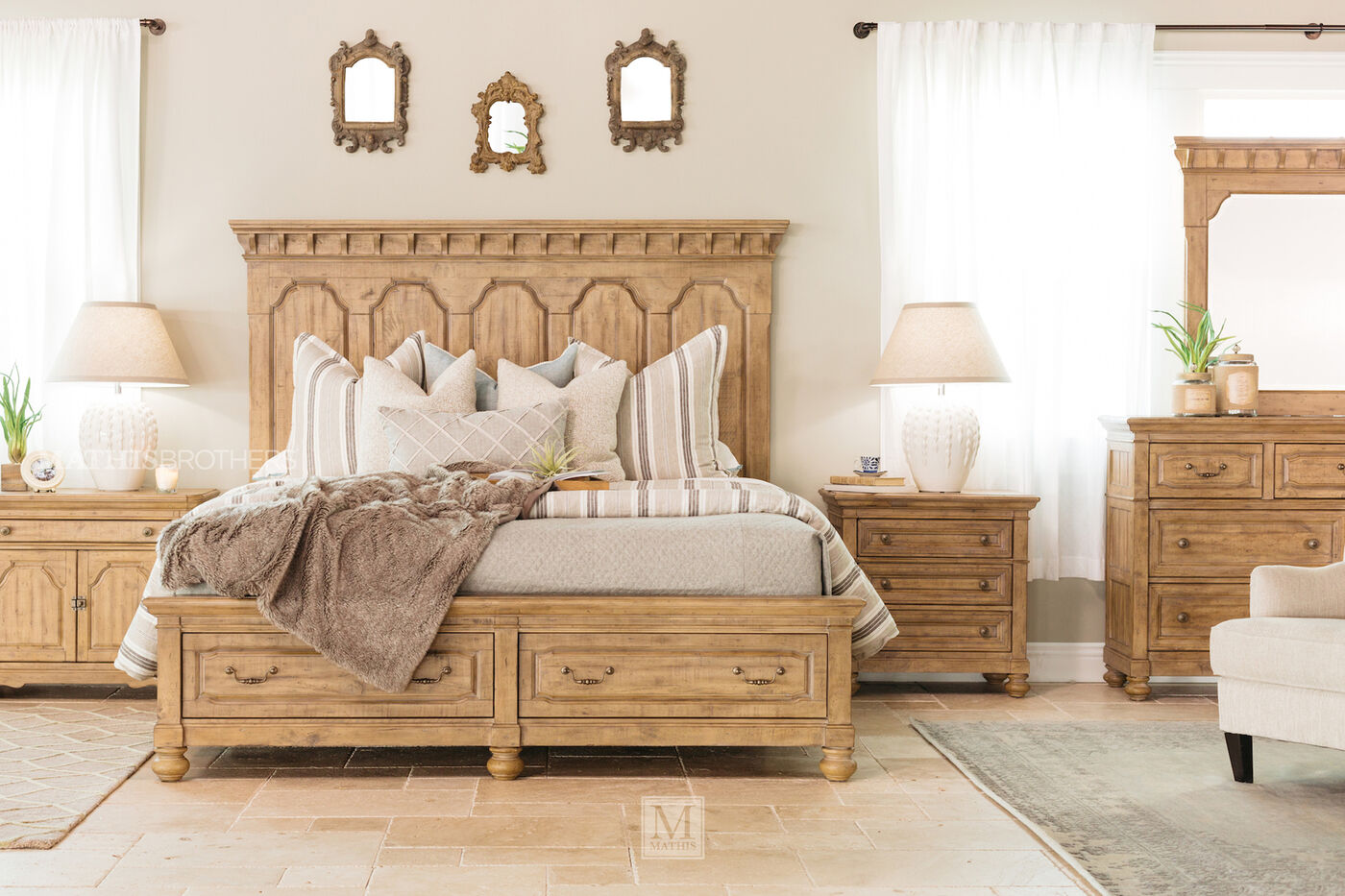 magnussen home graham hills wheat storage bed | mathis brothers