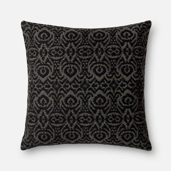 """Indoor/Outdoor 22""""x22"""" Cover w/Poly Pillow in Black/Grey"""