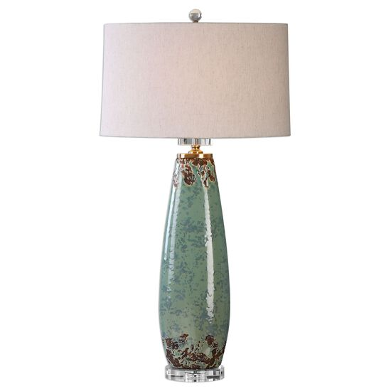 Tapered Oval Hardback Shade Distressed Table Lamp in Mint Green