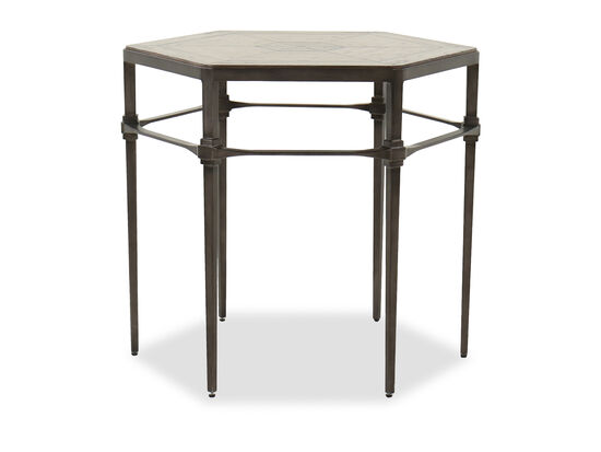 Hexagonal Traditional End Table in Heathered Lambswool