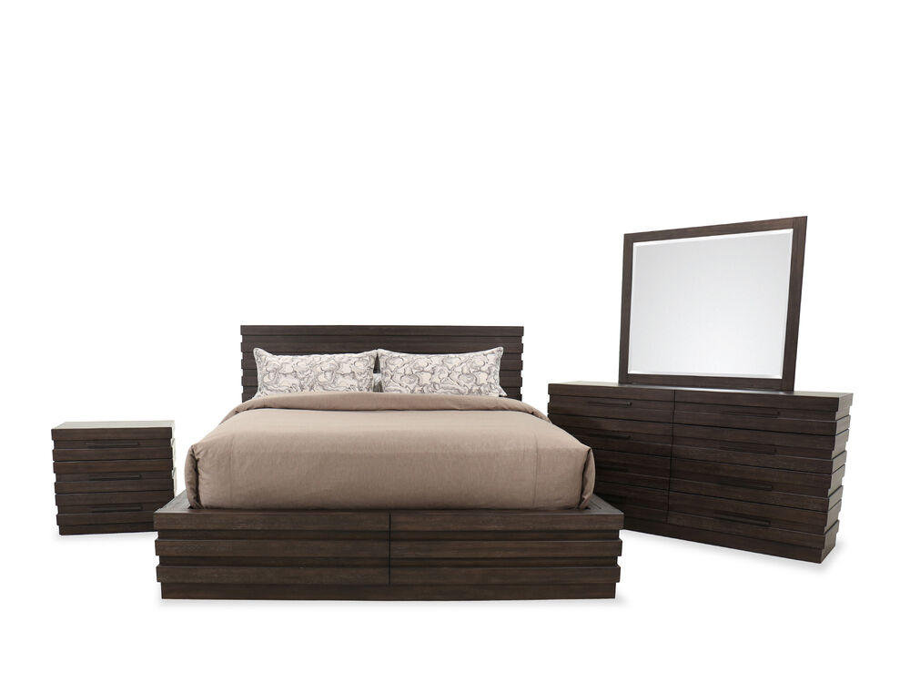 Four-Piece Transitional Bed Suite in Brown