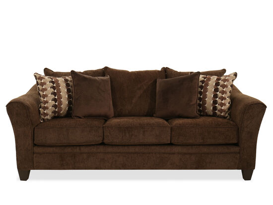 "90"" Textured Transitional Sofa in Brown"
