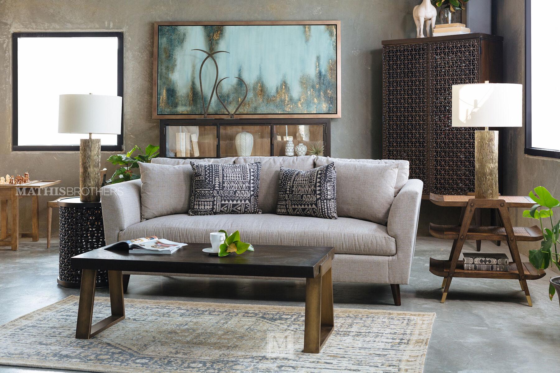 ... Beige Mid Century Modern 86u0026quot; Shelter Sofa ...