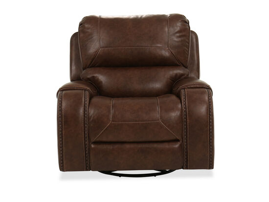 Contemporary Nailhead-Accented Swivel Glider Recliner in Brown