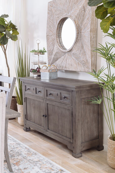 """Traditional 58"""" Storage Buffet in French Gray"""