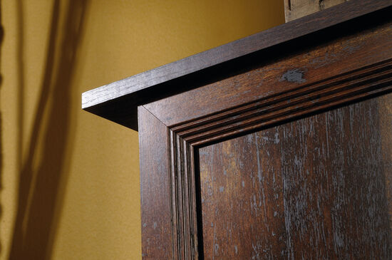 """Three-Door 59"""" Storage Cabinet in Cherry"""