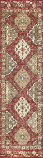 Traditional Power-Loomed 2.6 x 8 Runner Rug in Red