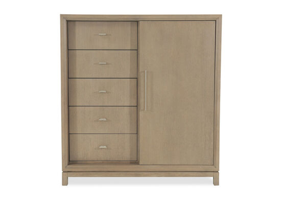 "56"" Modern Sliding Door Chest in Light Brown"