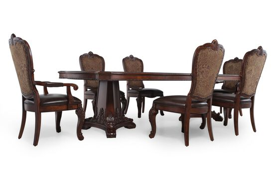 Seven-Piece Traditional 112'' Dining Set in Dark Pomegranate