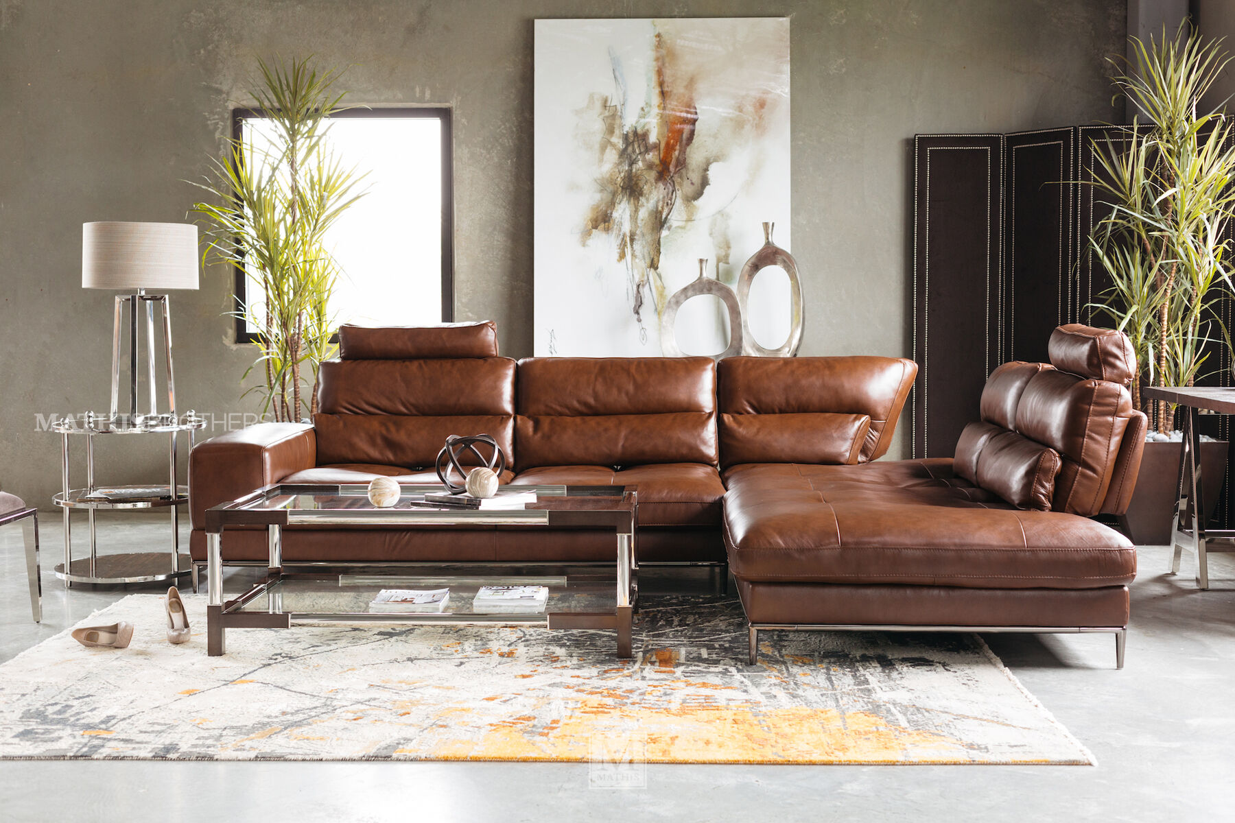 ... Two Piece Leather Sectional In Brown