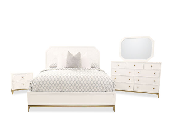 Four-Piece Contemporary Wood King Bed Set in White