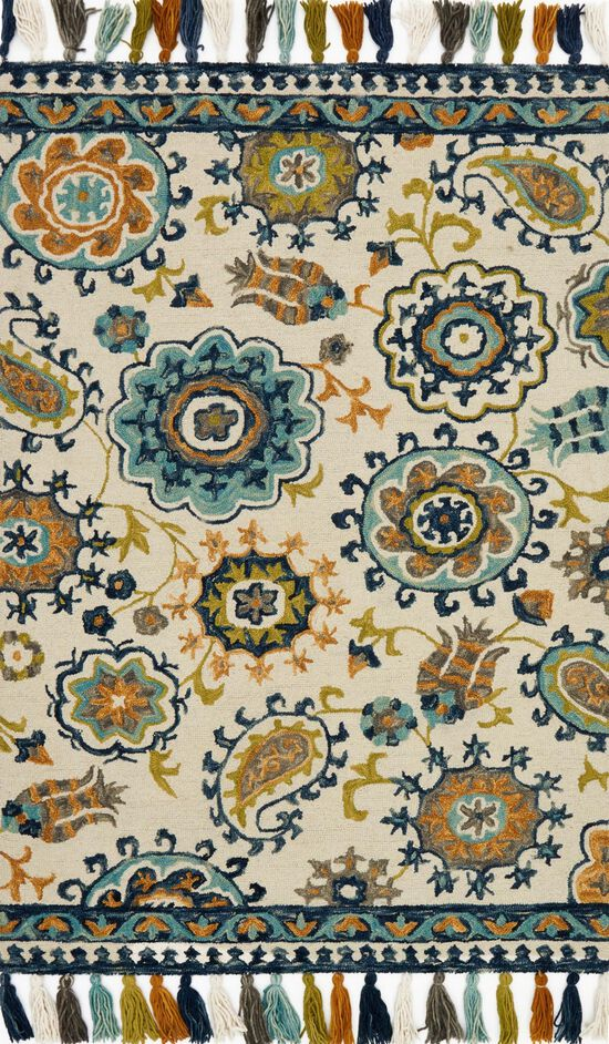 """Transitional 3'-6""""x5'-6"""" Rug in Ivory/Blue"""
