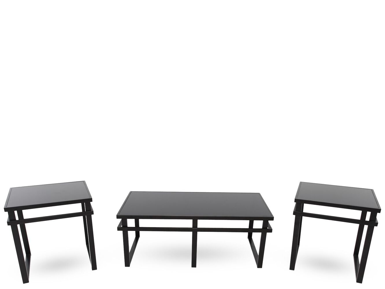 Three Piece Contemporary Coffee Table Set In Black Mathis Brothers