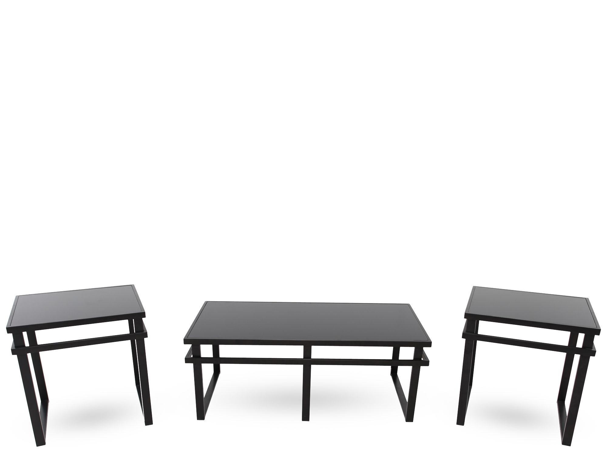 Three Piece Contemporary Coffee Table Set In Black