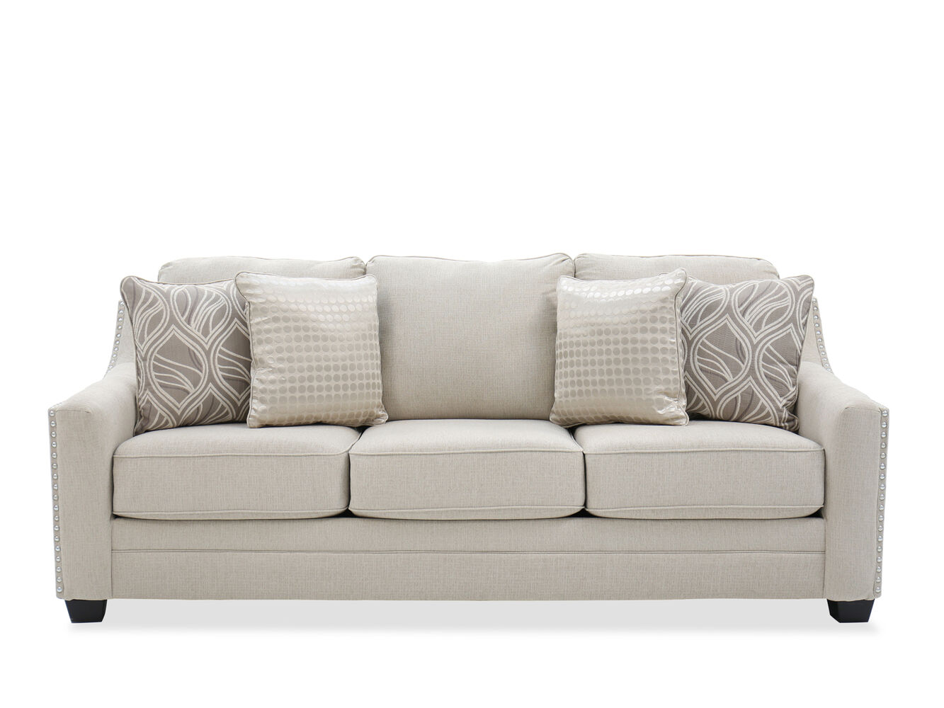 Straight arm quot sofa in linen mathis brothers furniture
