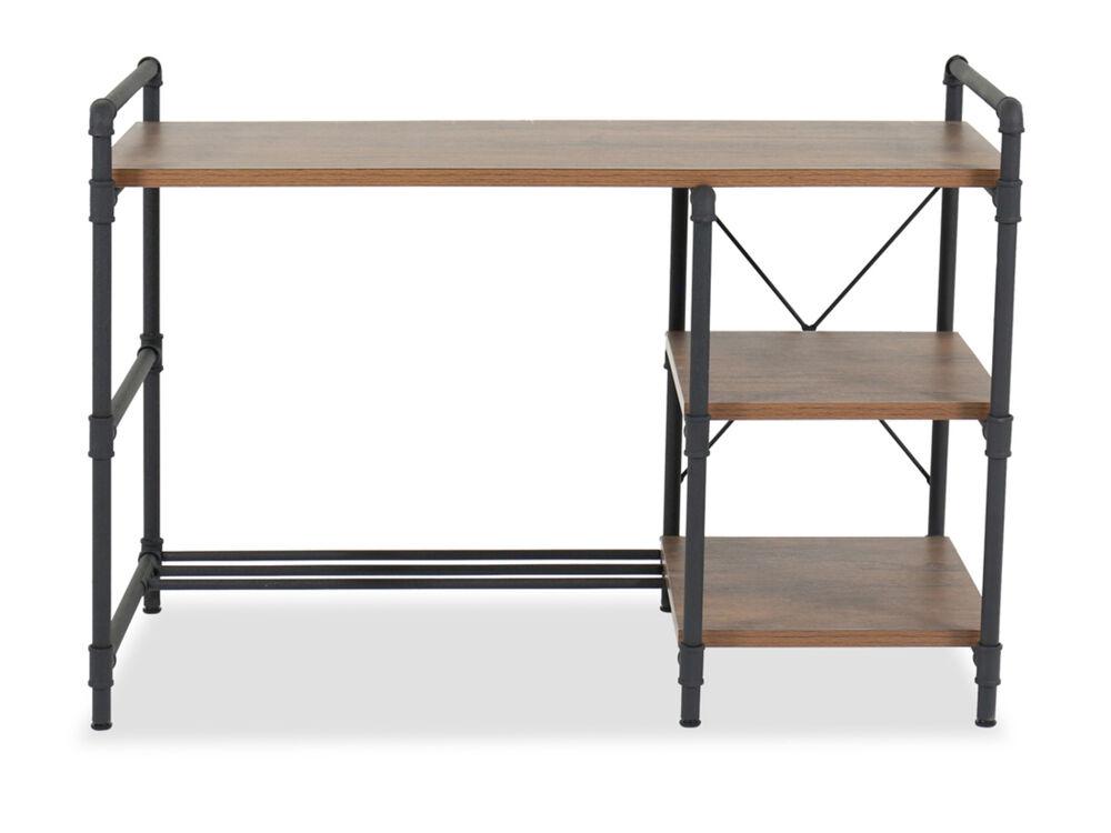 "47.5"" Industrial Rectangular Office Desk in Checked Oak"