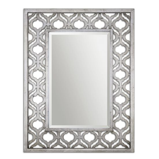 "40"" Trellis Accent Mirror in Antiqued Silver Leaf"