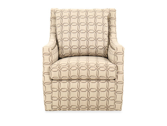 Floral-Patterned 31'' Swivel Chair in Orange