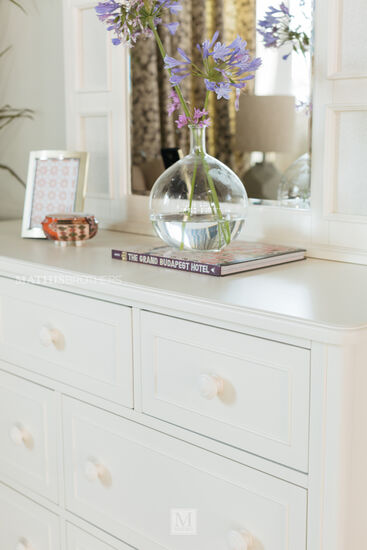 Paneled Transitional Arched Photo Mirror in White