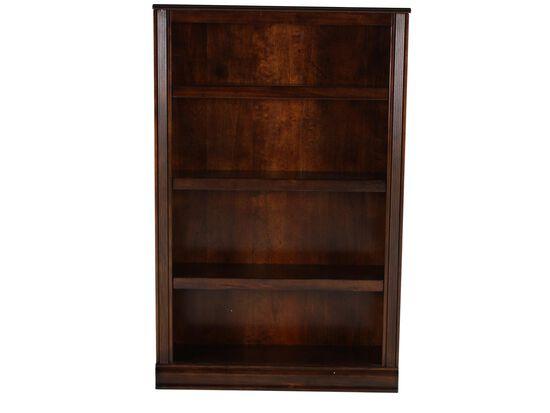 Traditional Adjule Shelf Open Bookcase In Medium Brown