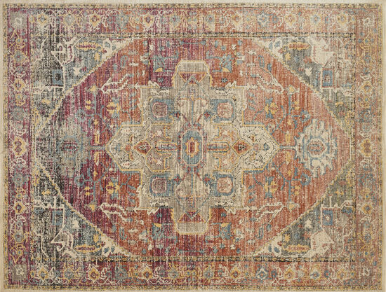 "Loloi Power Loomed 5'3"" x 7'4"" Rug in Berry/Sunrise"