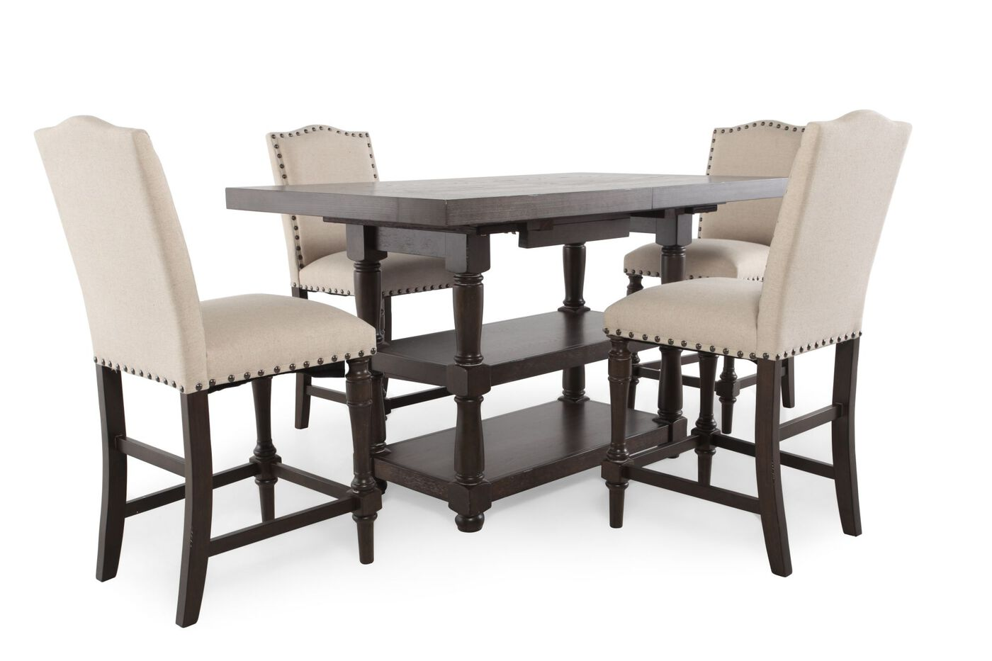 five piece solid wood traditional dining set in dark espresso mathis brothers furniture. Black Bedroom Furniture Sets. Home Design Ideas