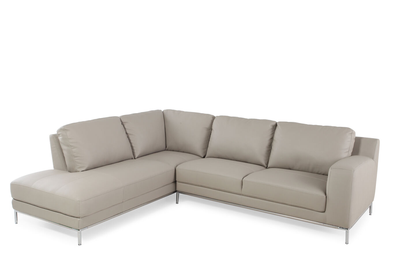 Two piece transitional 108quot sectional in stone mathis for Two piece sectional sofa sale