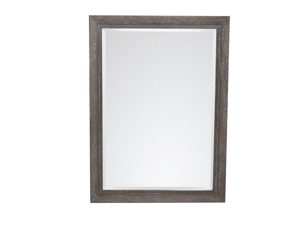 44'' Contemporary Rectangular Mirror in Cerused Gray