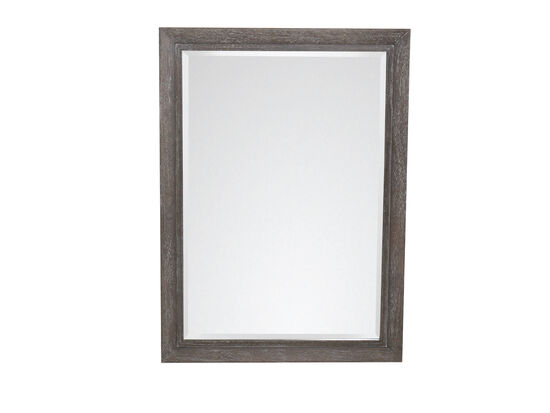 44'' Contemporary Rectangular Mirror in Cerused Gray