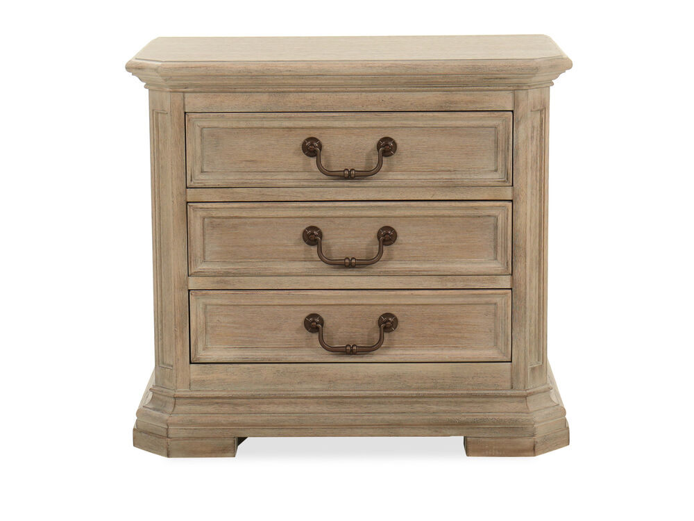 Three-Drawer Transitional Nightstand in Light Brown