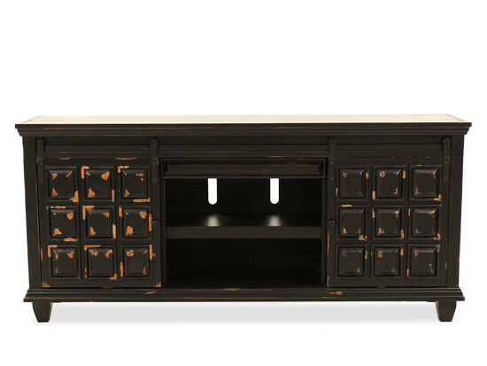 """Paneled Sliding-Door Traditional 72"""" Console in Black"""