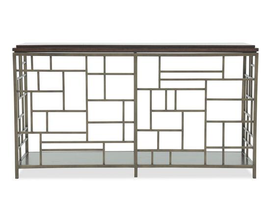 Geometric Fretwork Contemporary Sofa Table in Gray