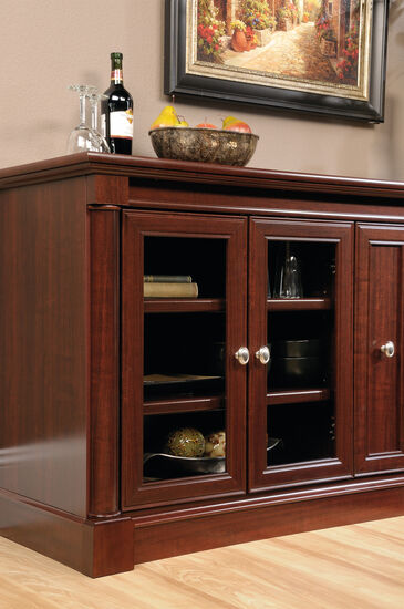 Four Adjustable Shelf Solid Wood Credenza In Select Cherry Mathis Brothers Furniture