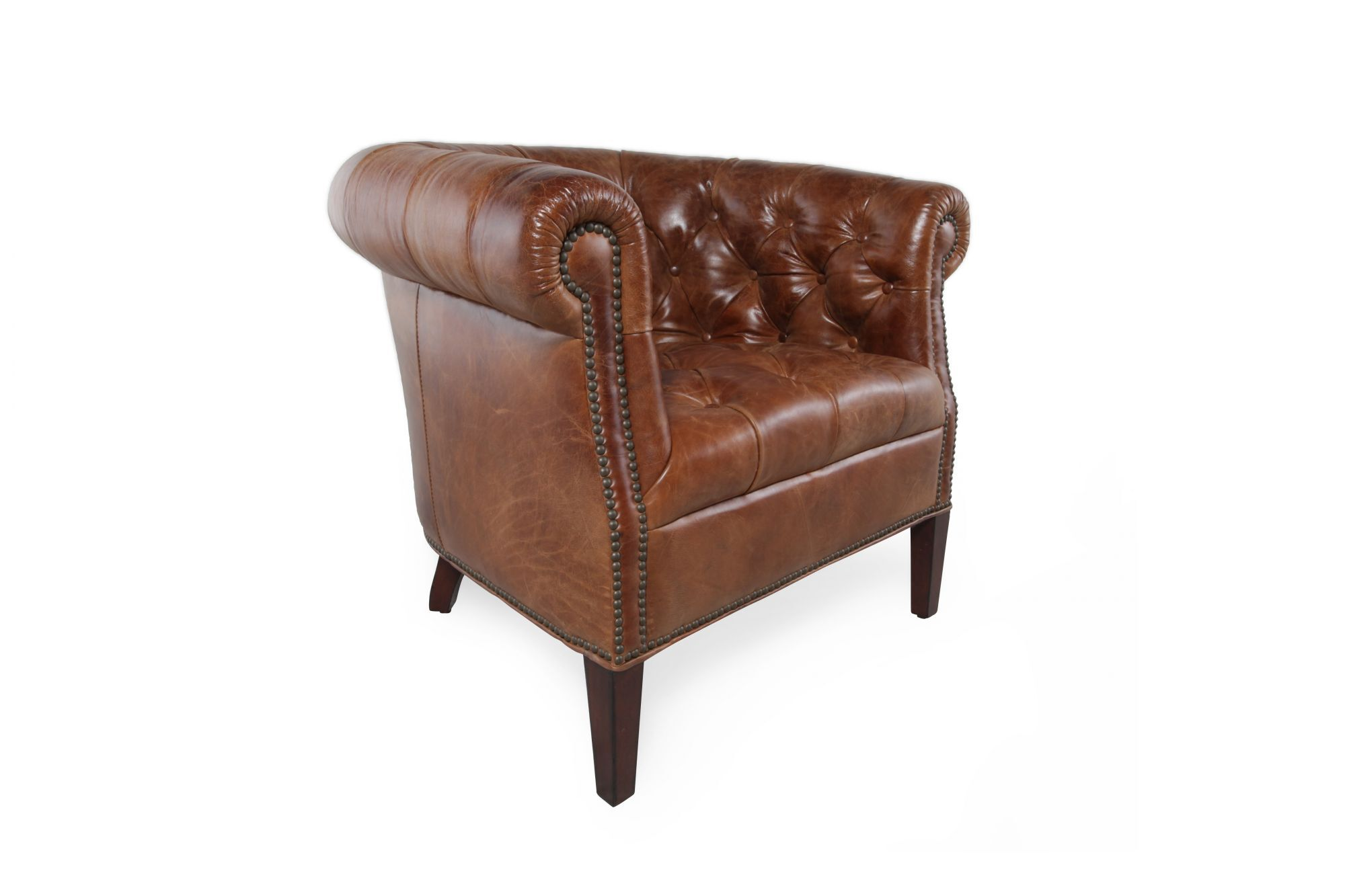 Cool Button Tufted Leather Tub Chair In Chestnut Brown Mathis Creativecarmelina Interior Chair Design Creativecarmelinacom