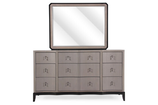 Two-Piece Serpentine Contemporary Dresser and Mirror in Platinum