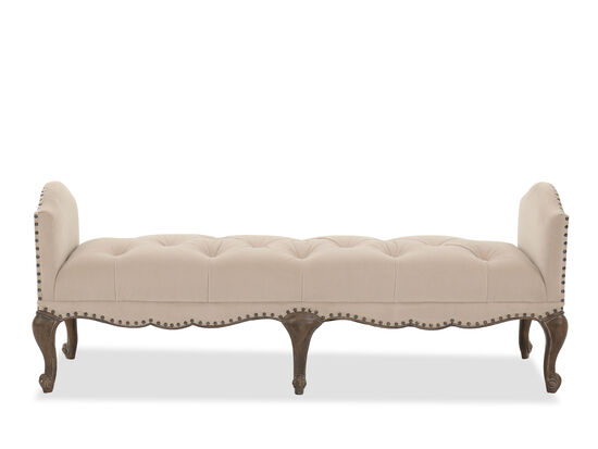 "70"" Traditional Nailhead-Accented Bench in Brown"