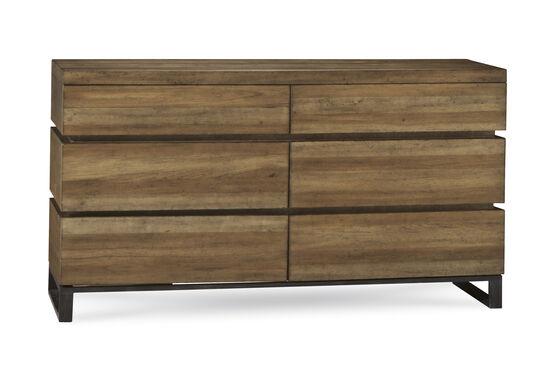 """36"""" Mid-Century Modern Six-Drawer Dresser in Brown"""