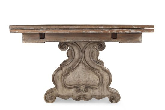 """Traditional 82"""" to 126.5"""" Rectangular Trestle Table in Light Wood"""