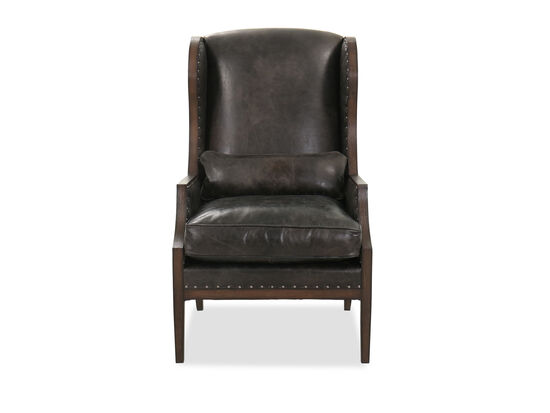 """Nailhead-Accented Leather 28"""" Club Chair in Dark Brown"""