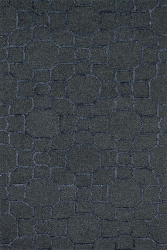 """Transitional 2'-3""""x3'-9"""" Rug in Charcoal/Black"""