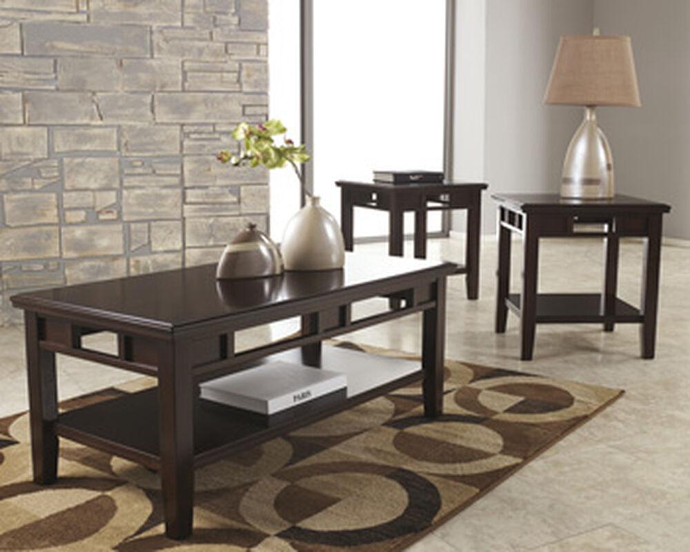 Three-Piece Rectangular Contemporary Accent Table Set in Dark Brown