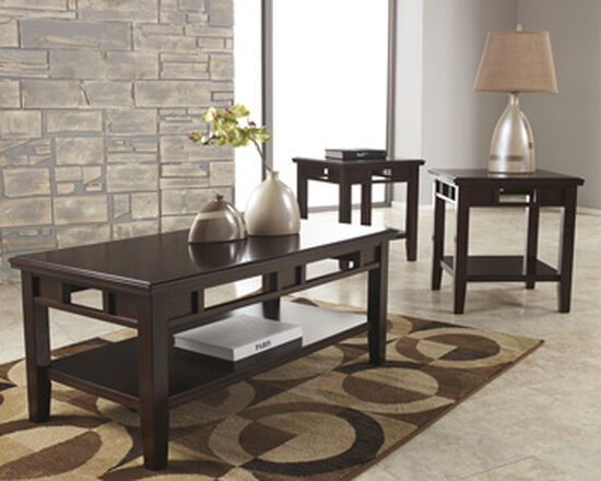 Three-Piece Rectangular Contemporary Accent Table Set in Dark Brown