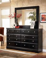 Two-Piece Contemporary Beveled Panel Dresser and Mirror in Black