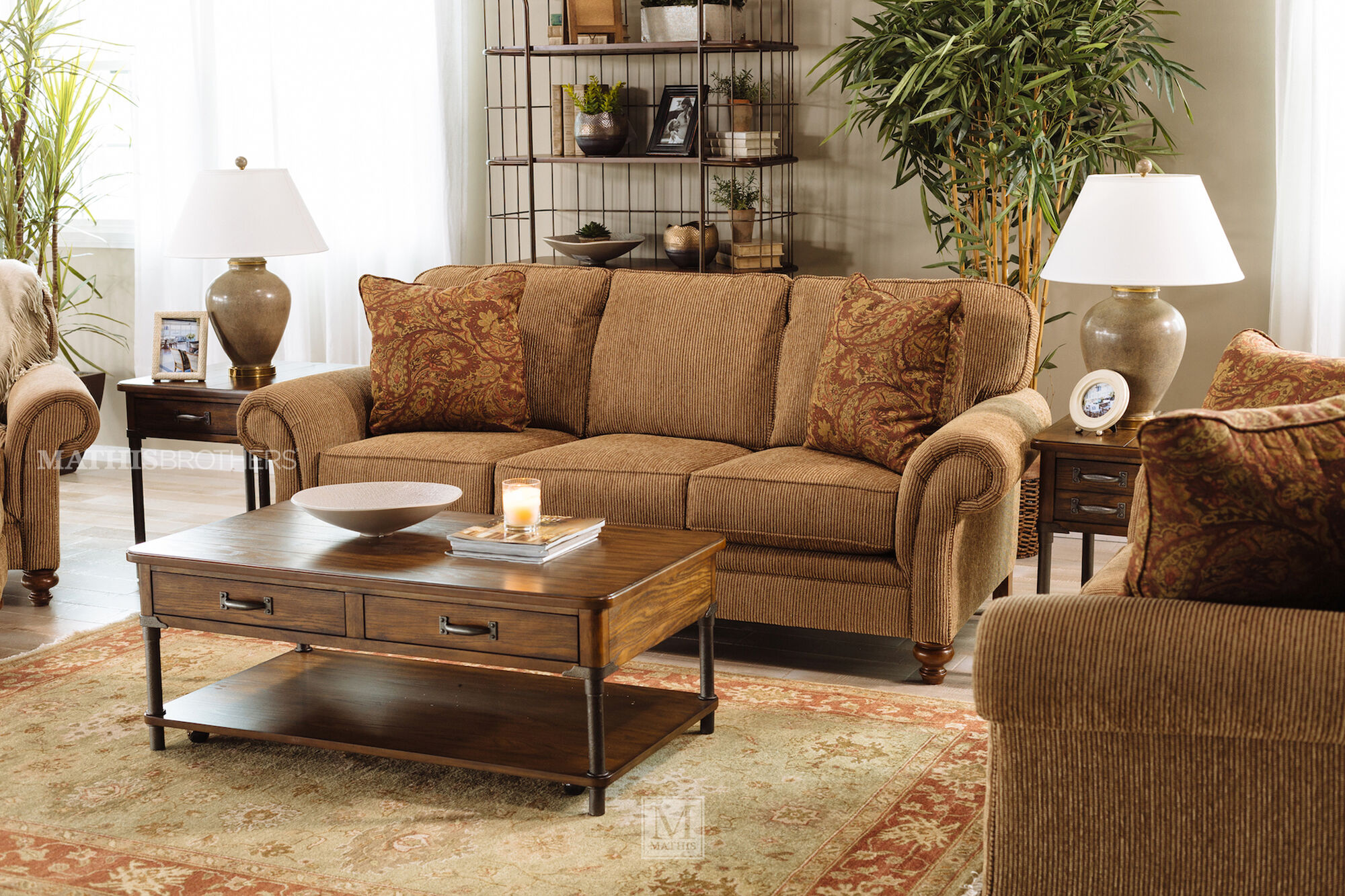 Corduroy Casual 88 Quot Sofa In Nut Brown Mathis Brothers