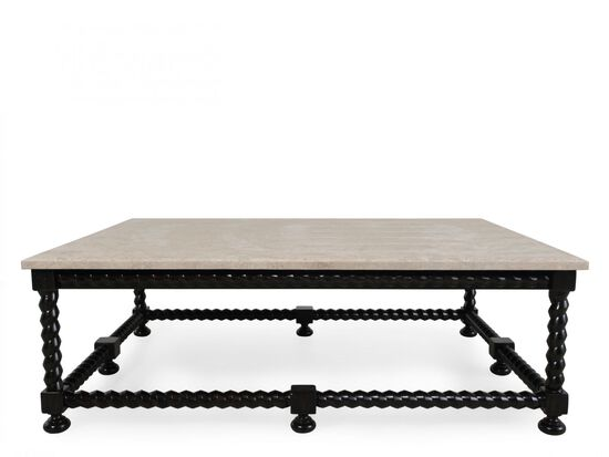 Stone-Top Contemporary Cocktail Table in Black