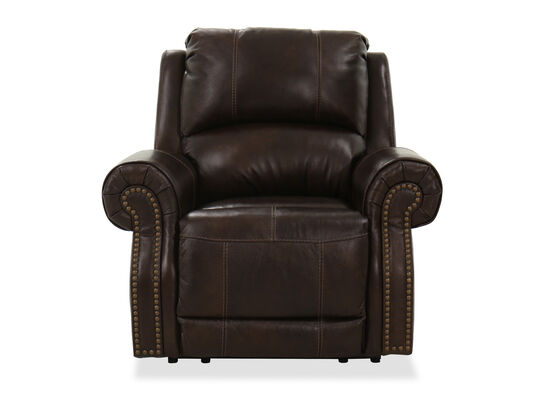 "Nailhead-Accented 42"" Leather Power Recliner in Chocolate"